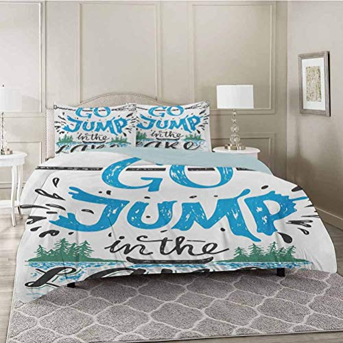 YUAZHOQI Duvet Cover Set, Vintage Typography Inspirational Quote Lake Sign Canoe Fishing Sports Theme, Decorative 3 Piece Bedding Set with 2 Pillow Shams, King Size