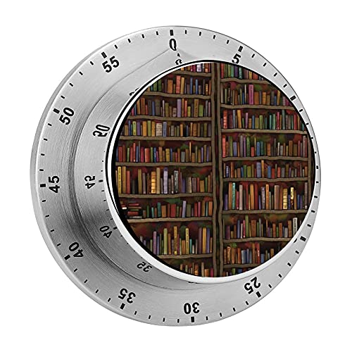 Vintage Library Bookshelf Bookcase Mechanical Timer with Loud Alarm Stainless Steel No Batteries Required Countdown Reminder for Cooking Reading Do Sports
