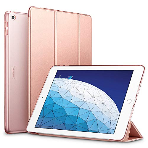 ESR Trifold Smart Case for iPad Air 3 2019, Auto Sleep/Wake Lightweight Stand Case, Hard Back Cover Smart Case, Rose Gold