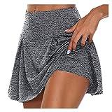 SHOBDW Pantalones Cortos Mujer Verano 2020 Falda Corta Cintura Alta Yoga Leggings Mujer Fitness Push Up Color Sólido Ropa Deportiva Mujer Pantalones Cortos(Gris,XL)