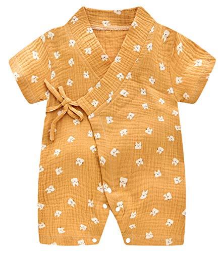 Cloud Kids Baby Kimono Strampler Neugeborene Baumwolle Japan Pyjama Overall Schlafanzug Katze 0-3 Monate