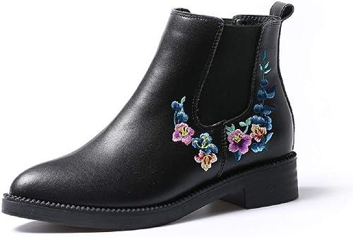 Gaslinyuan zapatos de Cuero de la Flor del Bordado negro de Las botas de Chelsea de Las mujeres (Color   negro, tamaño   EU 36)