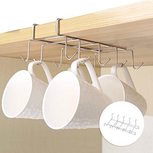 cloverstar taza soporte gancho bajo estante 10gancho armario de taza para colgar organizador de multifunción