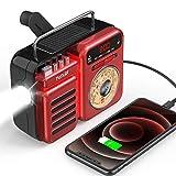 Emergency Radio,FaRuiX Hand Crank Solar Weather Radio with LED Flashlight,Bluetooth Speaker,Alarm Clock,SOS Alert,AM/FM/NOAA,2000mAh Phone Charger for Home &Survival