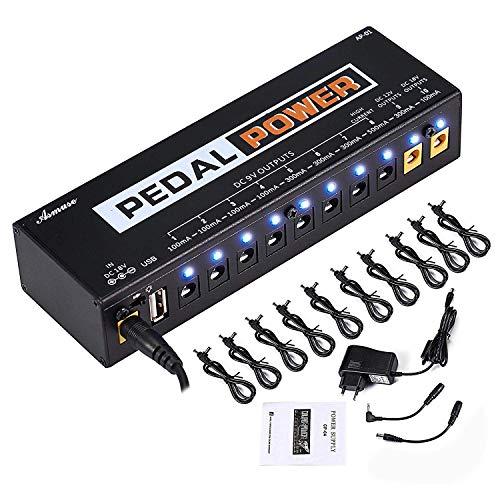 Asmuse Fuente de Alimentación Pedal Silencioso Caline Power 10 Salidas Aisladas con Puerto de Carga USB Incorporado para Pedal de Efectos de Guitarra Eléctrica de 9 V 12 V 18 V