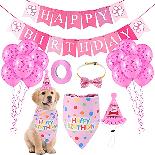 LIGNEST 16 PCS Dog Birthday Party Supplies Set - Dog Birthday Bandana Set with Dog Birthday, Scarf, Flag, Baloons, and Cute Puppy Bow Tie for Small, Medium & Large Dogs (Pink)