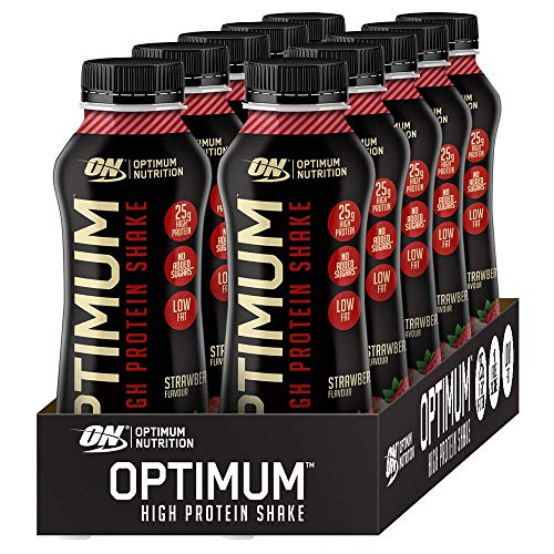 Optimum Nutrition ON High Protein Shake Bottles, Ready To Drink Snack, Low Fat and No Added Sugar, Strawberry, 10 Shakes, 10 x 330 ml