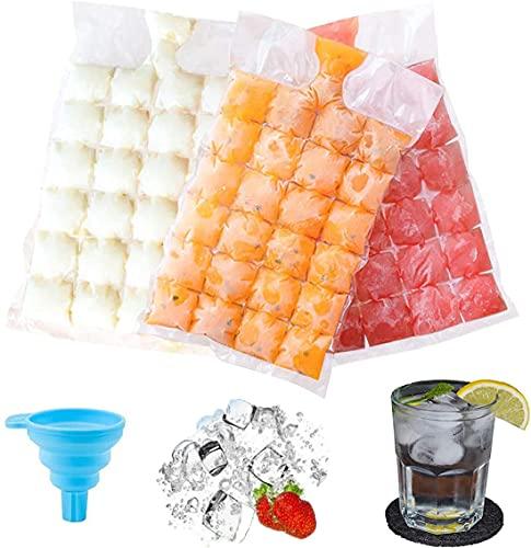 Bolsa Para Cubitos de Hielo,Bolsa de cubitos de hielo desechable,Bolsa Para Hielo Para Bebidas Frías:50 moldes de cubitos de hielo, que se pueden sellar automáticamente para cócteles,bebidas,cocina