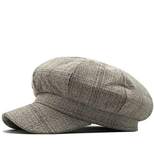 LHL Simple Retro Arte Octagonal Sombrero Para Mujeres Otoño Invierno Casual Plaid Artista Estilo Británico Boinas Algodón Mujer Sombreros