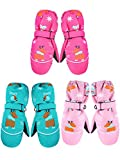 3 Pairs Kids Thick Snow Mittens Baby Toddler Waterproof Ski Gloves Winter Warm Gloves for Boys Girls (Rose Red, Light Pink, Green,1-3T)