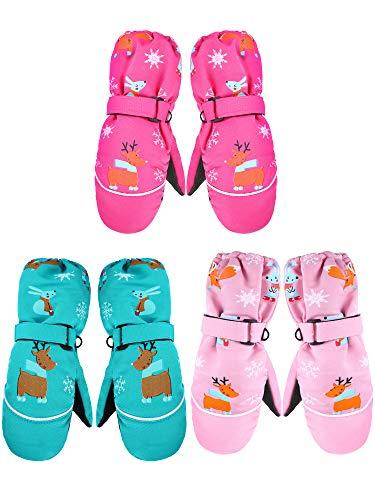 3 Pairs Kids Cartoon Thicken Snow Mittens Unisex Waterproof Ski Gloves Winter Windproof Warm Gloves for 3-7 Years Old (Rosy, Pink, Green)
