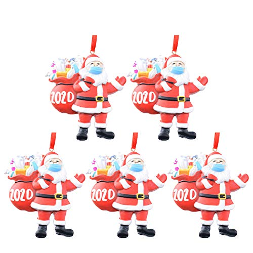 Gergeos 2020 Santa Claus Ornaments, Christmas Tree Decoration Pendant, Santa Claus with Face Cover Tradition Home Decor for Family