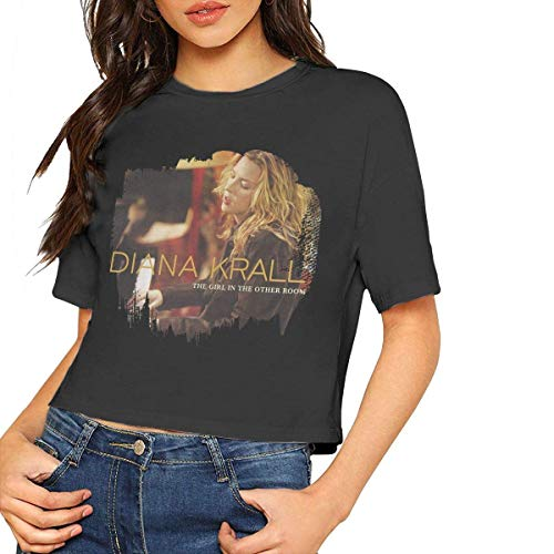 fffdaww AlbertV Diana Krall The Girl in The Other Room Sexy Exposed Navel Female T-Shirt Bare Midriff Crop Top Tees Black