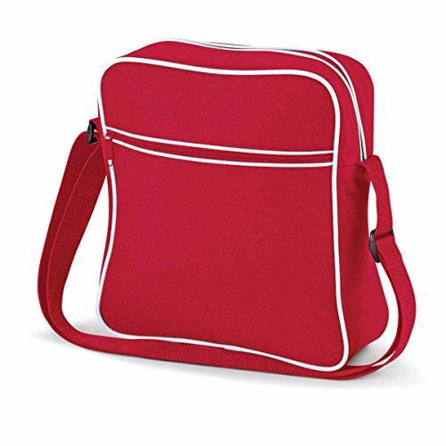 BagBase Retro Flight Bag, Classic Red / White, 30 x 28 x 10 cm