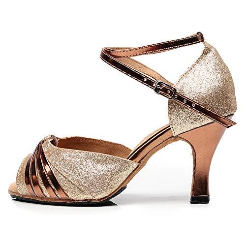 HROYL Zapatos de Baile Mujer Latino Baile Tango Baile Boda Tacón Alto para Zapatos de Fiesta Mujer,QJW6117,Metálico-8.3,EU39