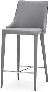 Zuri Furniture Jillian Gray Leatherette Counter Stool with Stainless Steel Base