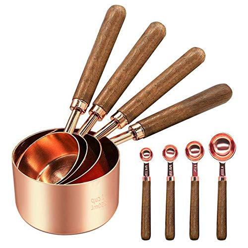 Stainless Steel Measuring Cups and Spoons  Set of 8 Cooper Measuring Cups and Spoons Set with Walnut Wood Handle Nesting Measuring Cup Set for Dry and Liquid Ingredients Rose Gold