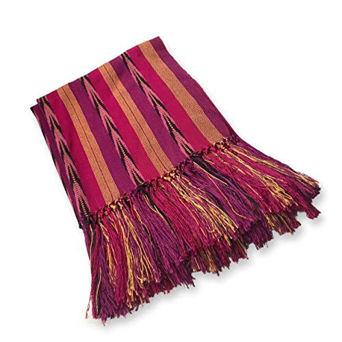Fair Trade Gypsy Bufanda rebozo guatemalteca auténtica hecha a mano - Rosa - Large