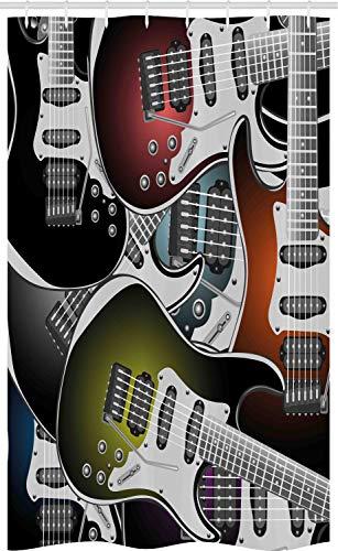ABAKUHAUS Popstar-Party Schmaler Duschvorhang, Bunte Gitarren, Badezimmer Deko Set aus Stoff mit Haken, 120 x 180 cm, Mehrfarbig