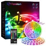 Fansteck Tiras LED, Luces LED Decorativas, Luces LED TV, Luces LED para Habitación, Tiras LED RGB 5050 5M 12V Función Musical 150 LED Control Remoto Múlticolor Mode de Escena para Hogar Fiesta Techo