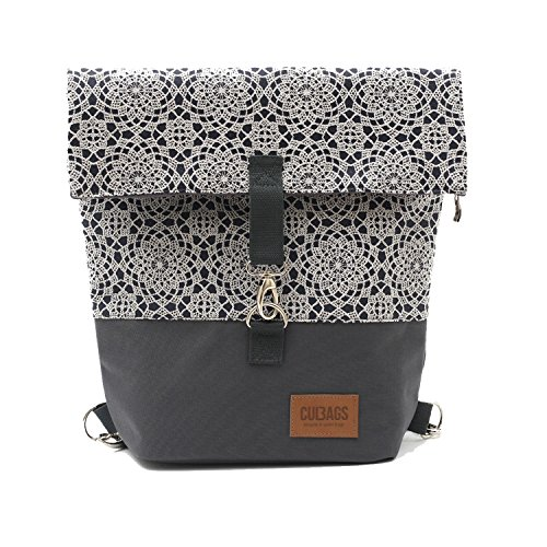 C-BAGS SWEET JEANS Fahrradtasche Damen Rucksack Spitzenmuster Backpack verschiedene Muster (800.007 lace grey)