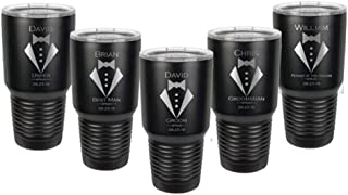Groomsman Tumbler made of Stainless Steel with a Clear Lid Custom Engraved including Choices of 12, 20 or 30 ounce, Color, Design, Name, Title, Date, Thank You Message, Straw and Spill Proof Slide Lid