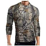 Camiseta de manga larga para hombre, transpirable, deportiva, de camuflaje, ajustada, de manga larga, de secado rápido, C_gris, XXXL