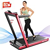 ANCHEER 2 in1 Folding Treadmill, 2.25HP Under Desk Electric Treadmill with Remote Control and Bluetooth Speaker & LCD Monitor, Installation-Free,Exercise Fitness Machine for Home/Office Use (red)