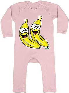 HARIZ HARIZ Baby Strampler Bananen Lachend Früchte Sommer Inkl. Geschenk Karte Zuckerwatte Rosa 6-12 Monate
