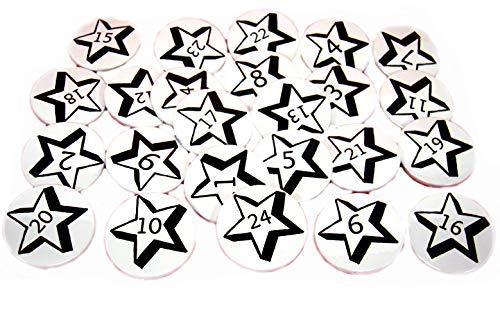 Adventskalender Button Set schwarz weiß Zahlen 1-24 Deko Anstecker 3,8 cm Weihnachten Christmas Wichtelgeschenk