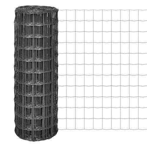 Tidyard Malla de Alambre Malla de Acero Valla de Tela Metálica Euro Fence Decoración Protección para Aves Cachorros Instalaciones en Jardín Industria Granja Transporte Malla 100x100mm Gris 25x1,5m