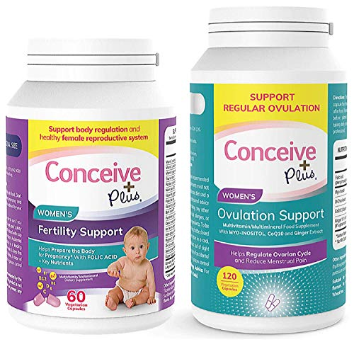 Conceive Plus Ovulation Bundle, Womens Fertility Supplement Prenatal Vitamins and Ovulation PCOS Support Capsules