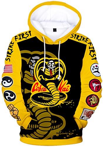 Chaos World Herren 3D Druck Cobra Kai Hoodie Karate Kid Langarm Sweatshirt Mit Taschen (Cobra Gelb,L)