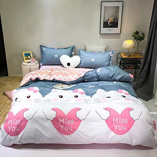 AYAONG Katzenmuster-Bettdecke-Deckung Kinder 135x200 / 150x200 Kissenbezug 3pcs Bettdecken-Set, Bettwäsche-Set, Steppdecke, Bettwäsche, Bettbezug (Color : C 9, Size : Cover 175x220cm 3pcs)