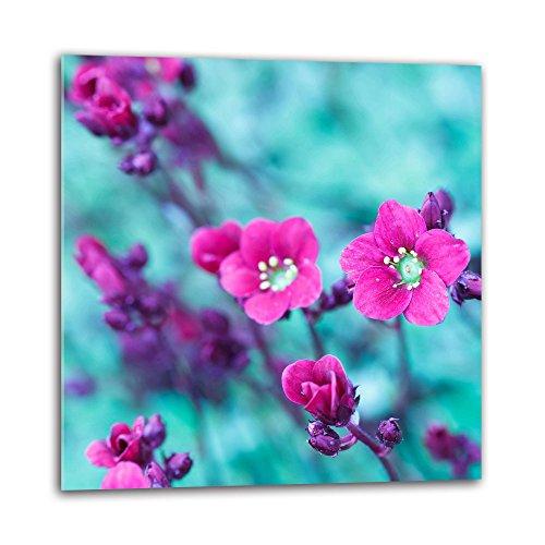 Decorwelt - Protector antisalpicaduras de cristal para cocina, 60 x 60 cm, protección de pared, fregadero, protección contra salpicaduras de cocina, protección de azulejos, espejos de cocina, cristal decorativo, flores, color rosa y azul