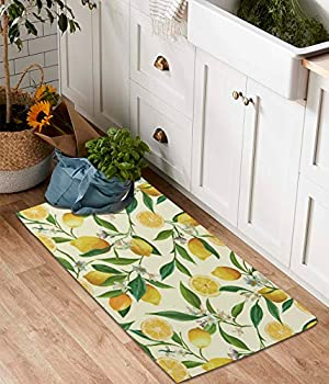 YoKii Lemon Cotton Runner Rug 2x4.4 Modern Farmhouse Small Area Runners with Non-Slip Pad Summer Floral Fruits Leaves Vintage Kitchen Rug Floor Mat for Bathroom Entryway Washable  Yellow 2x4.4