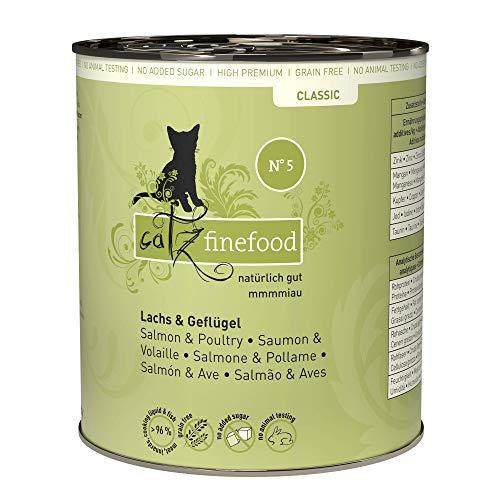 catz finefood N° 5 Lachs & Geflügel Feinkost Katzenfutter nass, verfeinert mit Spinat & Tomate, 6 x 800g Dosen