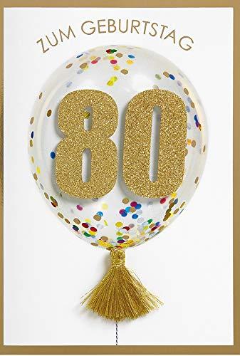Geburtstagskarte zum 80. Geburtstag Lifestyle - Zahlenkarte Ballon - 11,6 x 16,6 cm