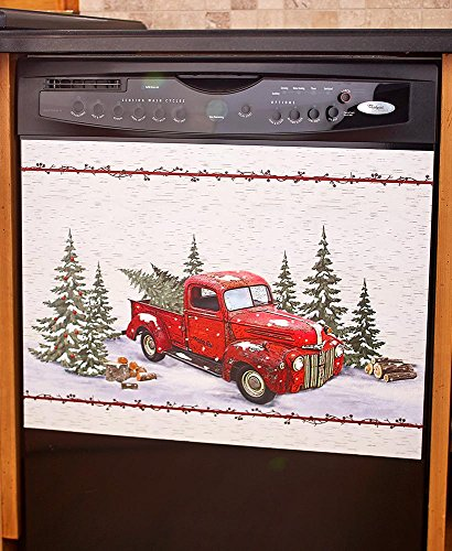 Vintage Country Red Pick Up Truck Dishwasher Magnet - Home Kitchen Decoration