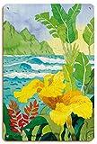 Pacifica Island Art Canna Amarillo con Olas - Paraíso Tropical Hawaii - Islas Hawaianas - De Acuarela de Robin Wethe Altman - Letrero de Madera 20x30cm