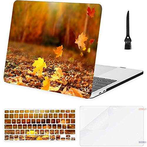 4 in 1 Laptop Case for MacBook Pro 15 inch (2016-2019) with Retina,A1707,A1990 Beautiful Autumn Landscape Yellow Trees Sun Hard Shell Cover with Keyboard Cover Screen Protector Cleaning Brush