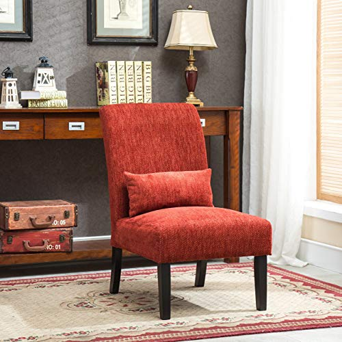 Roundhill Furniture Red Pisano Chenille Fabric Armless Contemporary Accent Chair with Matching Kidney Pillow