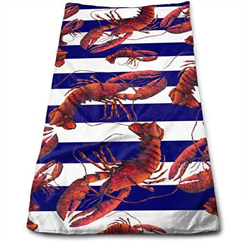 YudoHong Toalla de Mano Suave roja Absorbente de la Langosta Rayada Blanca y Azul para el baño Kichten 12 x 27.5 Pulgadas de Secado rápido