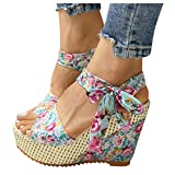 AIHOU Women's Sandals Open Toe Floral Bowknot Platform Wedge Flat Casual Summer Strappy Heels Sandals for Women