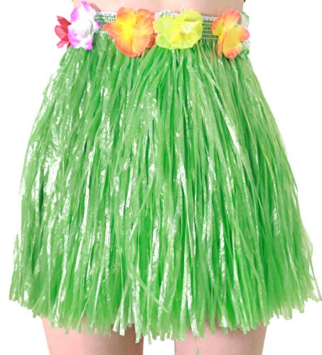 Girls Aloha Tassel Skirt, Tropical Dresses for Hula Costume and Beach Party, Green, One Size