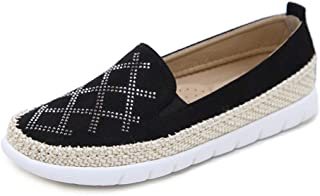 Women's Casual Shoes New 2019 Suede Loafers & Slip-Ons Rhinestone Hemp Rope Shoes Fashion Deck Shoes Beige Black Red,Black,42