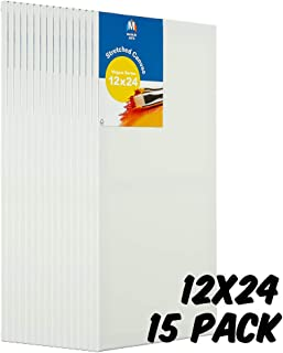 Markin Arts Vogue 系列瑞典松木酸/无色 * 纯棉中等重量 283.50 克三重钛亚克力石涂漆垂直水平拉伸帆布油画 30.48x60.96cm 白色 15-Pack CVV-1224-15P