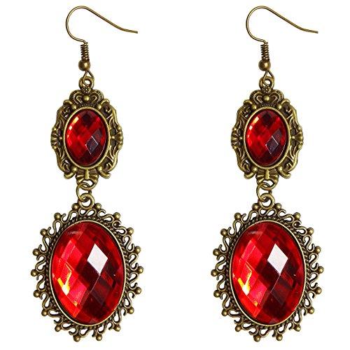 RareLove Lolita Red Rhinestone Teardrop Chandelier Dangle Earrings
