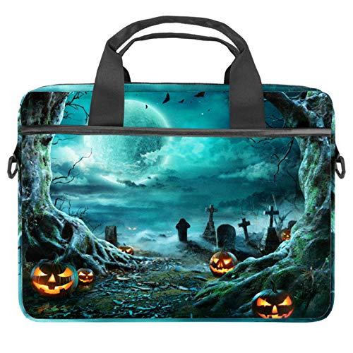 Bolsa de ordenador portátil Halloween disfraz fiesta con calabaza gigante Notebook manga con mango 13.5-14.5 pulgadas llevar bolso de hombro maletín