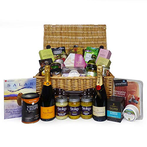 Luxury Food and Champagne Gift Hamper in Traditional Wicker Basket Includes 75cl Moet & Chandon, 75cl Veuve Clicquot, Salmon, Cheese and More - Ideas for Birthday, Christmas, Wedding, Anniversary